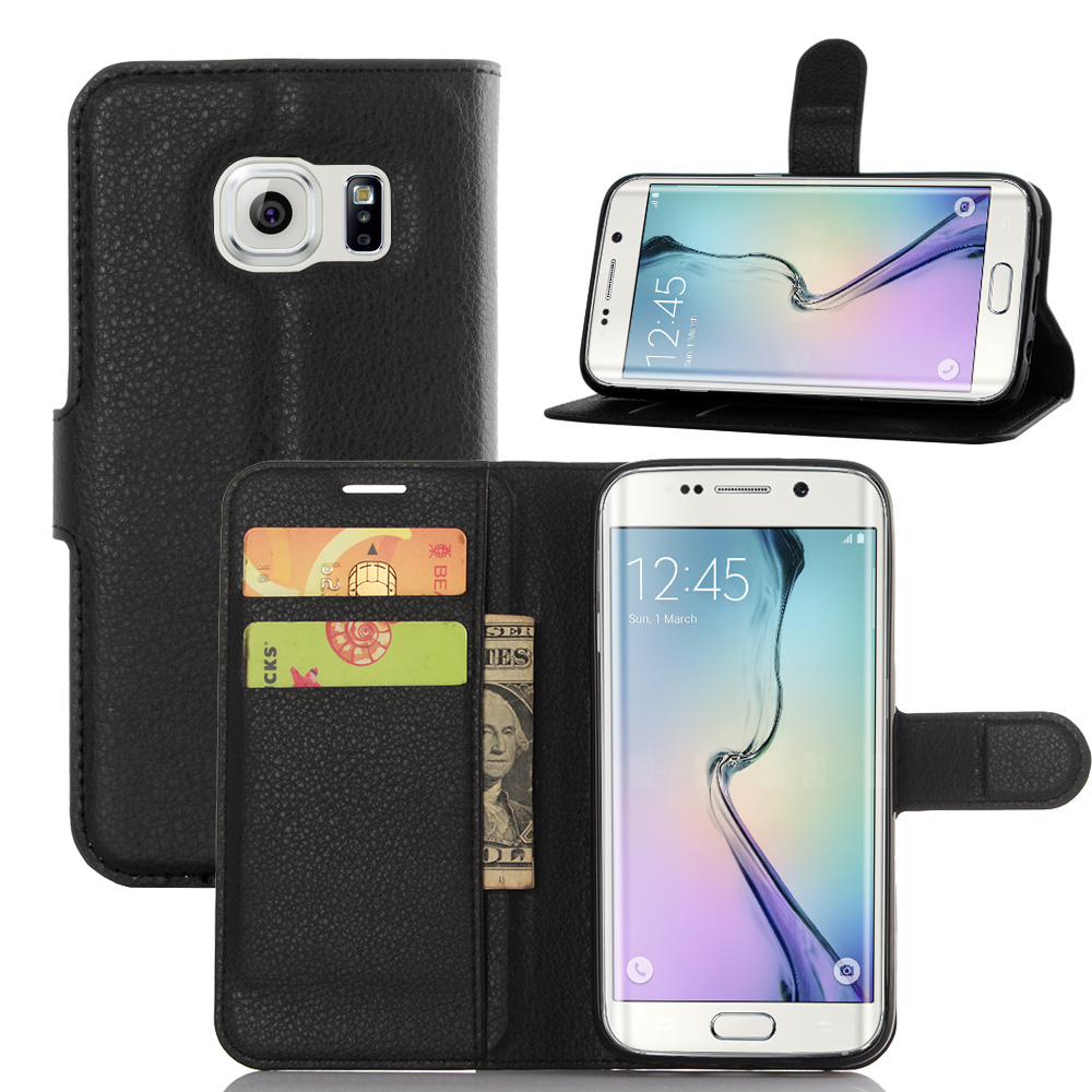 s7edge case for samsung galaxy s7 edge g9350 flip leather wallet card stent cases lichee pattern. Black Bedroom Furniture Sets. Home Design Ideas