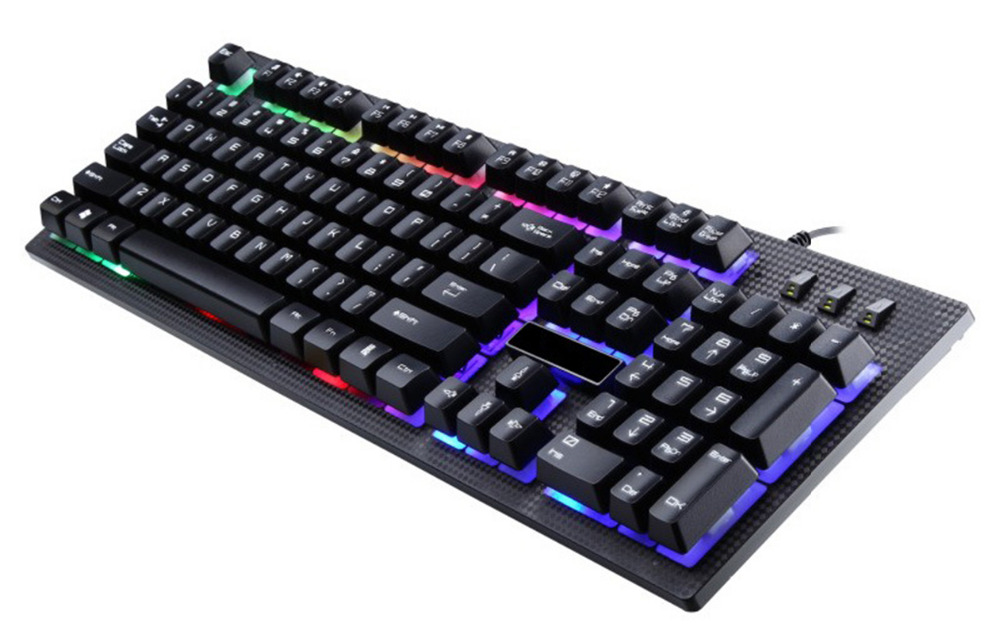 English 2 Color Backlight Gaming Keyboard  104 Keys USB  Wired Keyboard Game Waterproof  Keyboard for Desktop PC the black keys the black keys el camino 2 lp