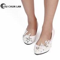 LOUCHUNLAN Handmade Low Heeled Shoes White Bridesmaid Shoes aesthetic dance Shoes Female Wedding Shoes Women Pumps Free Shipping