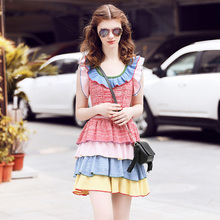 New Arrivals 2017 Spring Women Casual O-neck Sleeveless Ruffles Patchwork Slim Knitted Women Dress High Quality Runway Dresses
