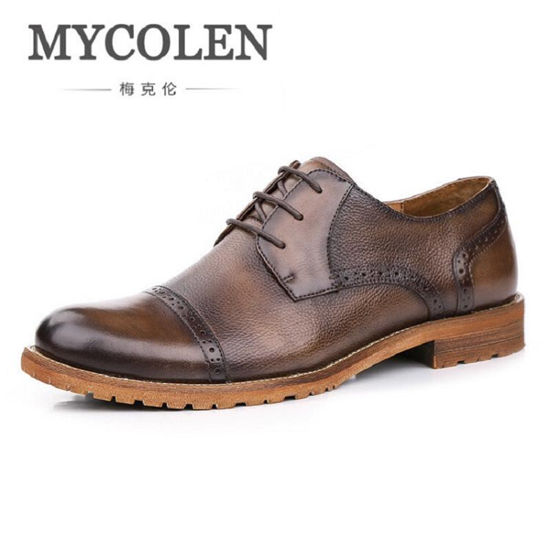 MYCOLEN Fashion Brand Men Shoes Winter Handsome Business Casual Shoes Breathable Men's Leather Shoes Man Derby Sapato Social men loafers shoes needbo brand handsome comfortable top quality men casual shoes genuine leather fashion breathable shoes men