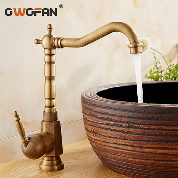 Basin Faucets Deck Mounted Single Handle Bathroom Sink Taps Antique 360 Degree Swivel Kitchen Faucet Luxurious Taps WF-908F