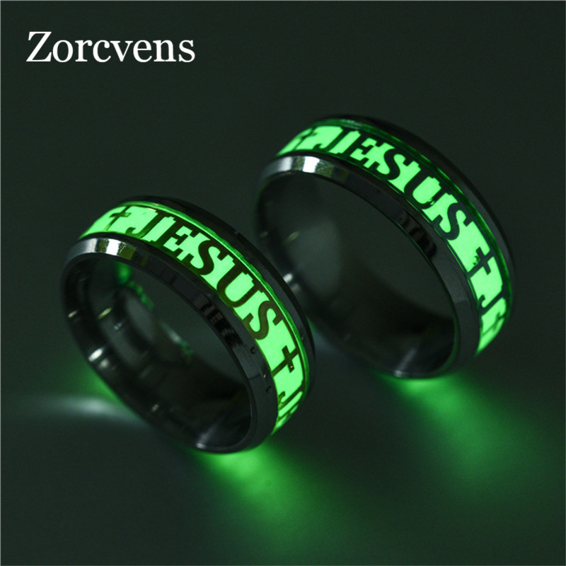 ZORCVENS Brand 8mm Gold And Silver Color Stainless Steel Luminous Jesus Cross Rings For Men