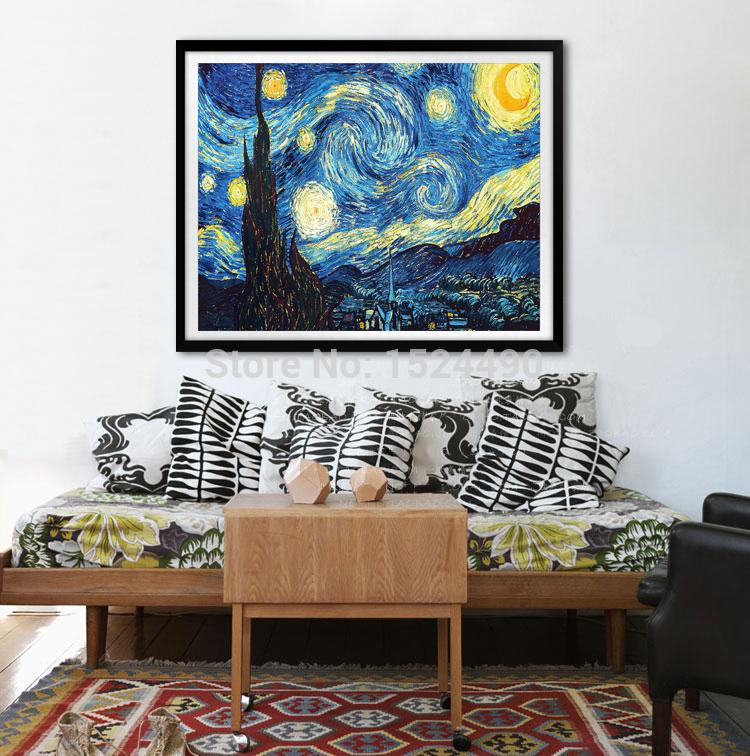 Large Starry Night Of Vincent Van Gogh Handmade Reproduction Oil. Starry Night Wall Art ... & Starry Night Wall Decor - Home Decorating Ideas
