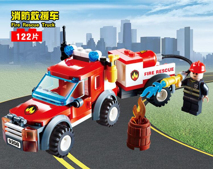 GUDI Models Building toy Compatible with Lego G9208 122PCS Fire Rescue Blocks Toys Hobbies For Boys Girls Model Building Kits