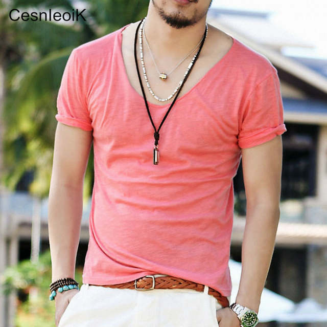 21c5330f068 placeholder Men s Exclusive Pretty Tops V Neck T Shirts Stunning Cut Off  Border New Summer Style
