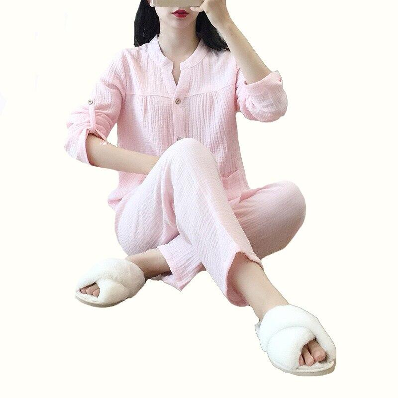 Ladies   Pajamas     Set   Summer New Simple Style Women Solid Color Sleepwear 100% Gauze Cotton Homewear Long Sleeve+Pants Casual Wear