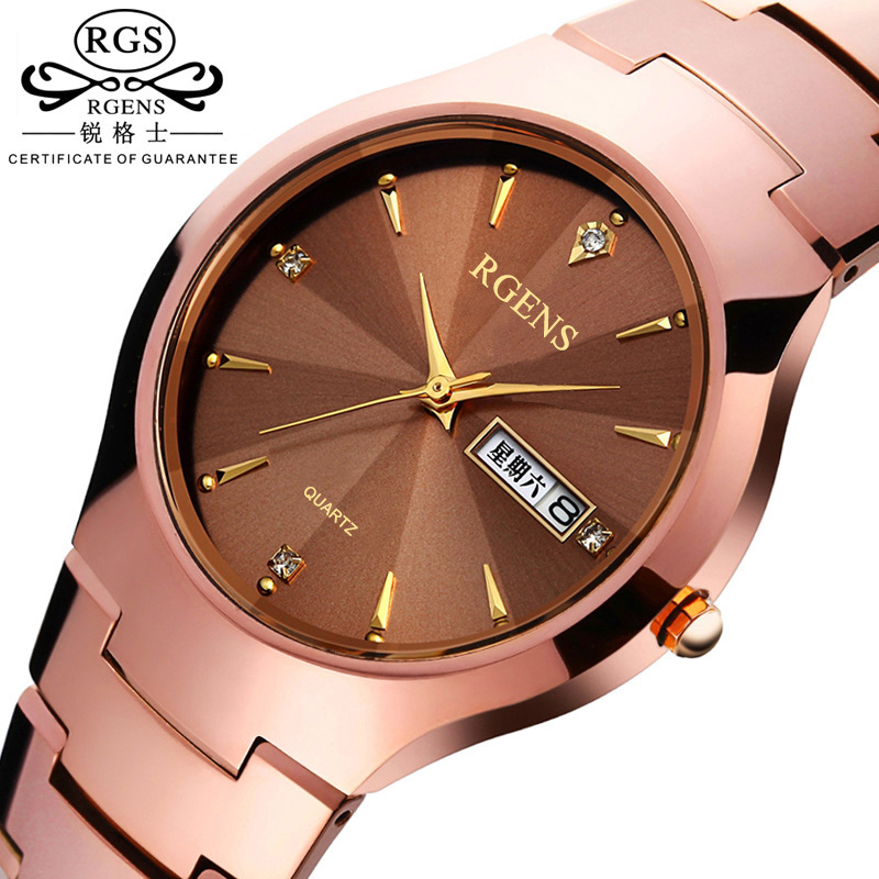 15af9c98288 Homens de luxo de quartzo de aço de tungstênio relógios de Negócio  masculino homem diamante relógios de pulso à prova d  água calendário  semana RGENS marca ...
