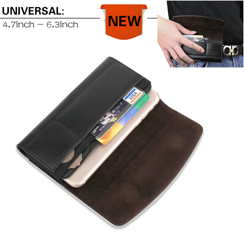 font b 2018 b font New Leather Universal Holster Phone Pouch Bag Wallet Case Belt