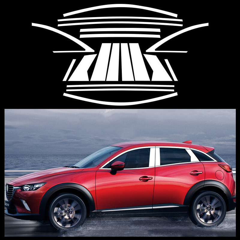 Stainless Steel Car Window Trim Strip Trim Cover Is Suitable For <font><b>Mazda</b></font> CX-3 <font><b>CX3</b></font> 2018 <font><b>2019</b></font> image