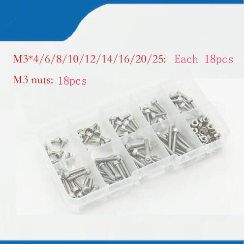Free shipping 180pcs/set M3*4/6/8/10/12/14/16/20/25mm Hex Socket Head Cap Screw Stainless Steel M3 screw Accessories Kit 250pcs set m3 5 6 8 10 12 14 16 20 25mm hex socket head cap screw stainless steel m3 screw accessories kit sample box