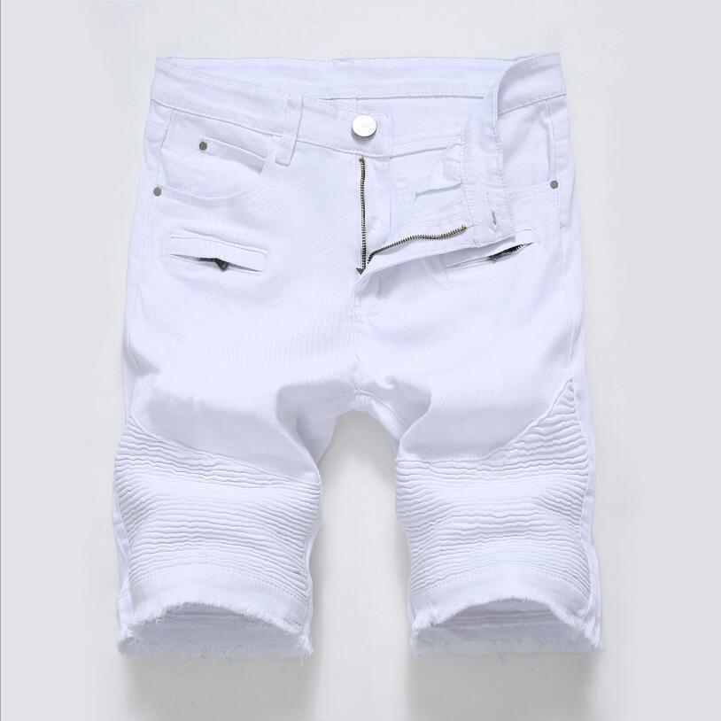 Men White Denim Shorts Pleated   Jean   Shorts New Fashion Men Stretch Short   Jeans   Moto Biker Style Denim Shorts Size 42