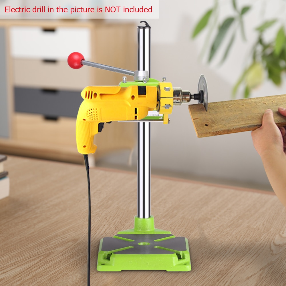 Electric Drill Press Stand Table Rotary Tool Workstation Drill Workbench Repair Clamp Work Station 90 Degree Rotating Fixed Fram