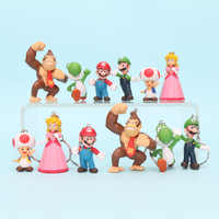 6 teile/satz Super Mario Bros Figur Spielzeug Mario Luigi Pfirsich Prinzessin Yoshi King Kong Kröte PVC Action Figure Spielzeug Keychain Anhänger geschenk