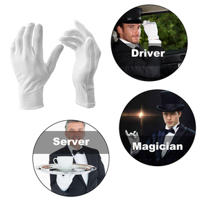 Image 3 - 12 Pairs/Lot White Soft Cotton Stretchable Lining Glove Ceremonial Gloves for Male Female Serving/Waiters/Drivers Gloves