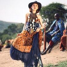 Летнее женское богемное шифоновое платье макси в стиле инди, повседневное свободное платье с круглым вырезом и принтом, длинное платье на бретелях, vestido de festa longo
