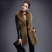 Women's Winter Warm Fashion Long Leather Jacket Female long White Duck Down Leather Coats large Real Raccoon Fur Collar Jacket
