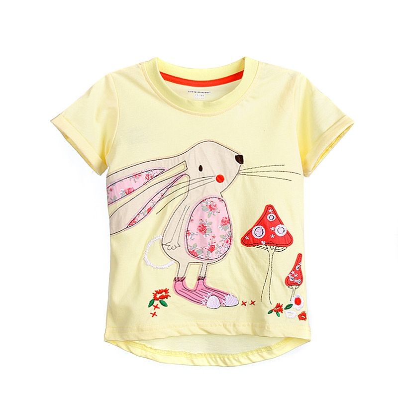Little Maven New Summer Brand Children Cute Yellow Rabbit O-neck Short Quality Cotton Knitted Fashion Girls Casual Tshirt ...