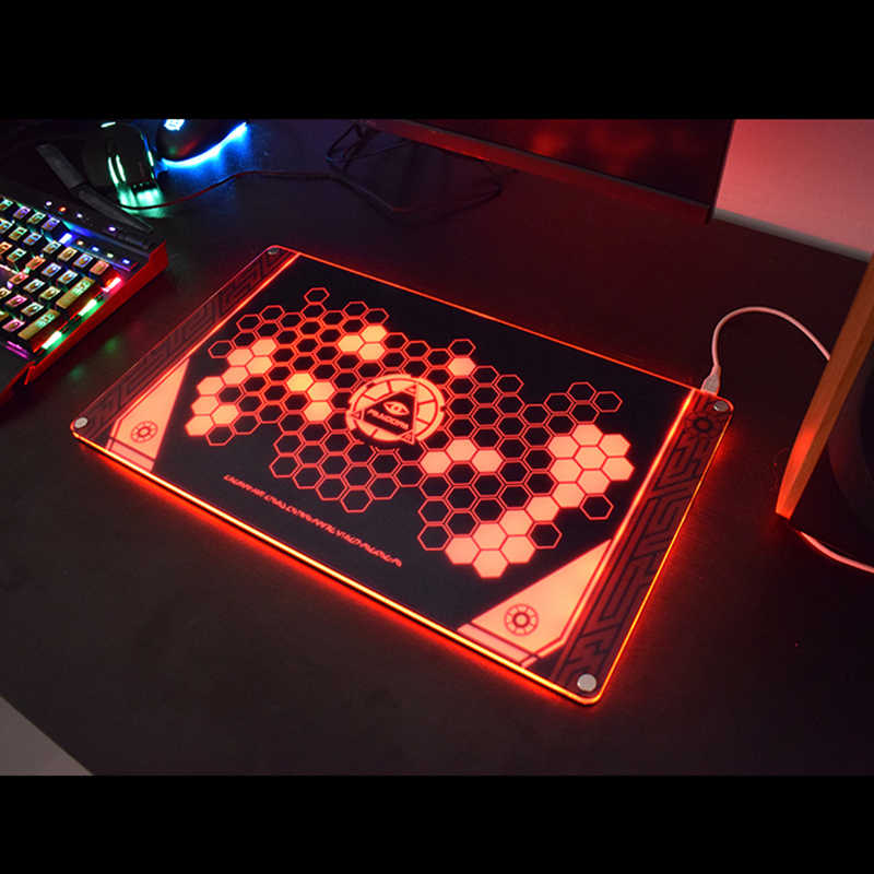 RGB Illuminate Glass Game Pandora Mousepad Compatible with Most Laser and Optical Mouse 40*23cm Glass Pad for Gaming