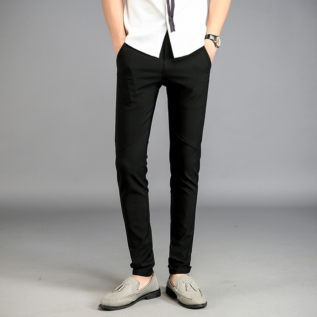 2017 Fashion Black Skinny Suit Pants Fit Men Trousers Men Spring