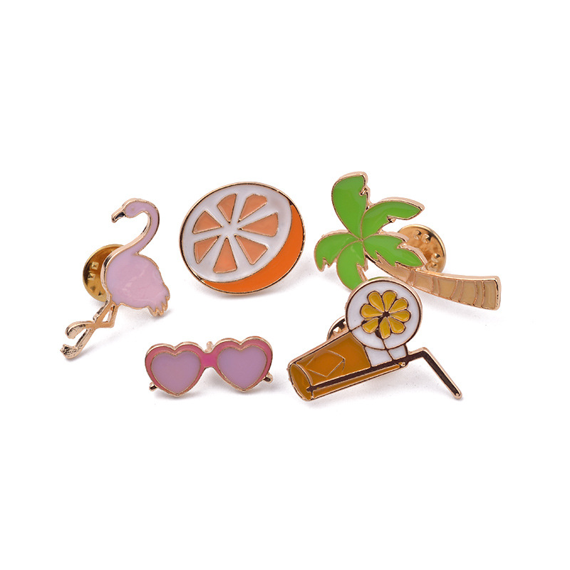 5PCS/Set Fashion Cartoon Colorful Brooch Pin Enamel Fruit Orange Palm Tree Shirt Lapel Pin Collar Pin for Women Jewelry