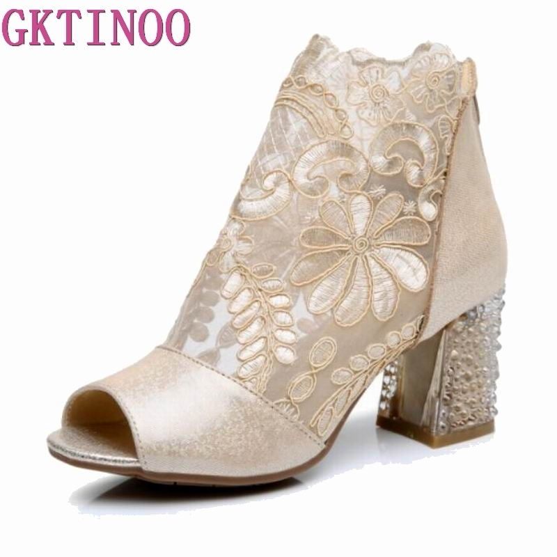GKTINOO 2019 New Open Toe Sexy Fashion Sandals Women Shoes Summer Sandals Lace Genuine Leather Shoes