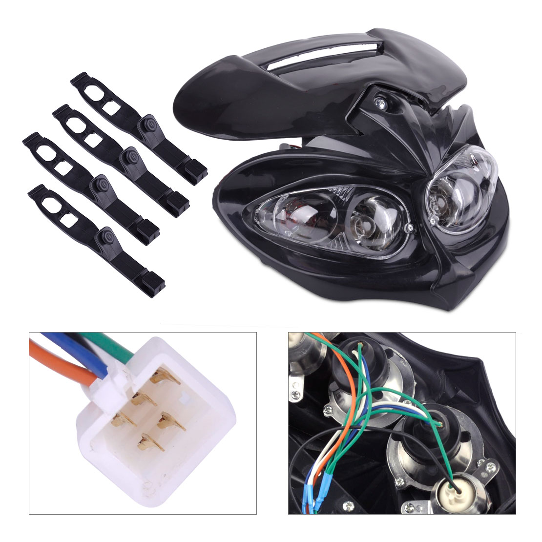 DWCX 5 Pin Black & Clear Front Head Dual Sport Light Lamp Fairing with Mounting Strap for Street Fighter Street Ran Motorcycle ...