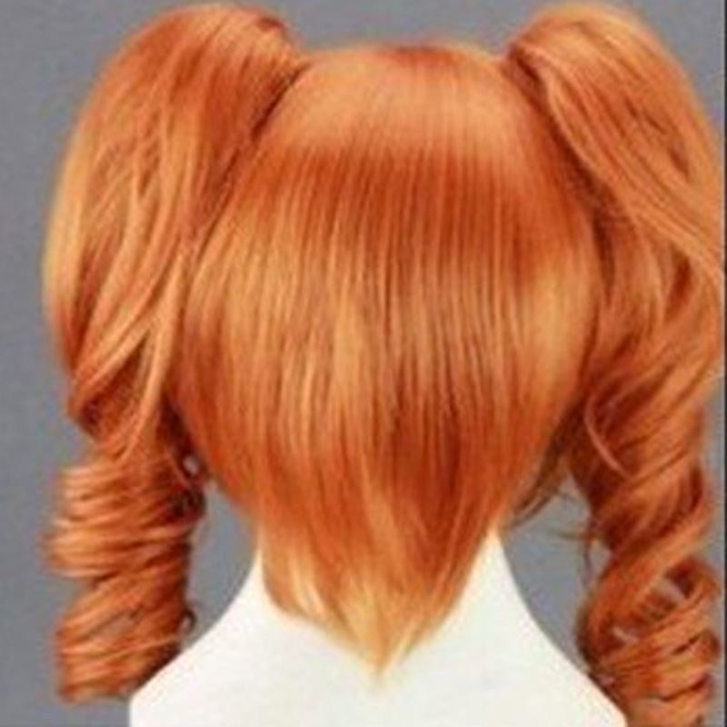 HAIRJOY 45cm Medium Length Orange Cosplay Wig Heat Resistant  Costume Party Synthetic Wigs 2 Clip On Ponytail 7 Colors 2