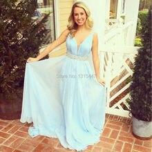 2017 sommer Plus Größe Hellblau Langer Abschlussball Kleidet Tiefer Perlen Puffy Langes Kleid-partei-abend Elegante Frauen Formale Kleider