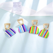 купить Candy Color Women Hanging Earrings Best Seller New Design Summer Fashion Ear Jewelry Brincos Gold Striped Female Drop Earrings по цене 110.87 рублей