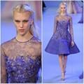 Envío gratis nueva llegada de moda de color azul de manga larga de raso vestidos Top sheer Sexy Runway corto Prom vestidos del partido