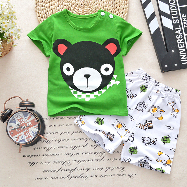 04bf997806cf5d Baby boys clothes sets t-shirt+shorts 2pieces Tracksuit whale aircraft  Printed Clothes newborn