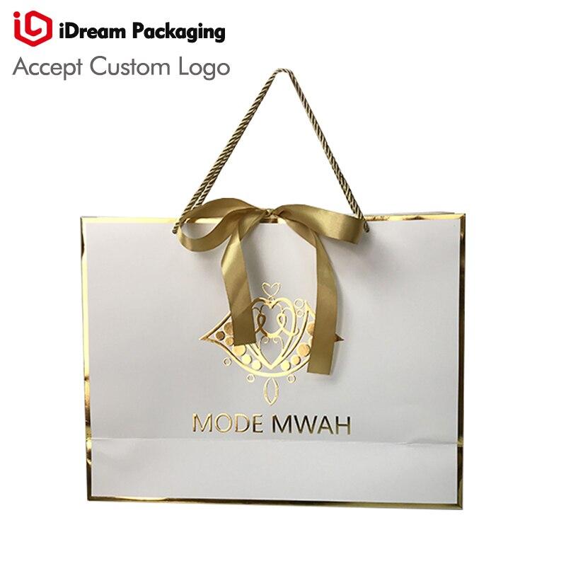 Idream упаковки золотой горячей staming край выпуклый Логотип заказ ткань платья бумажная сумка для покупок косметика, подарочная упаковка