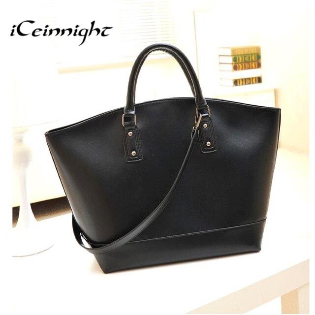 ICeinnight sacos designer de marca de luxo mulheres de couro pu bolsa de ombro cinto preto com zíper sólida grande big hobos 37 cm * 50 cm * 17 cm
