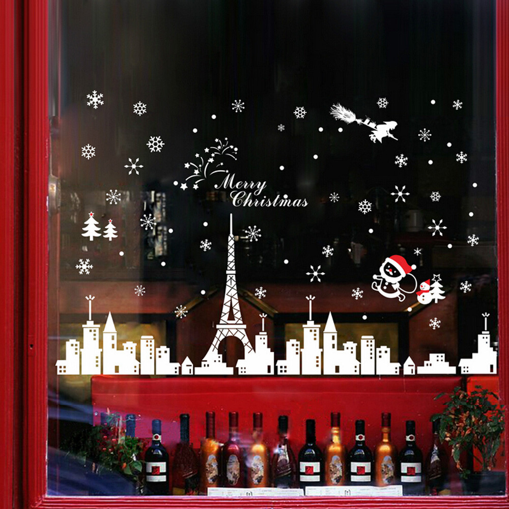 compare prices on window sticker christmas online shopping buy christmas wall stickers creative building removable home vinyl window wall stickers decal decor christmas decoration adesivos