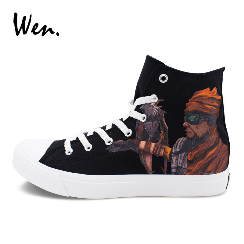 Wen Men Women Sneakers Black High Tops Flat Design Hand Painted Canvas Shoes Borderlands Mordecai Graffiti Shoes Laced Plimsolls wen sneakers colorful ice cream hand painted canvas shoes white high top plimsolls original design graffiti single shoes flat