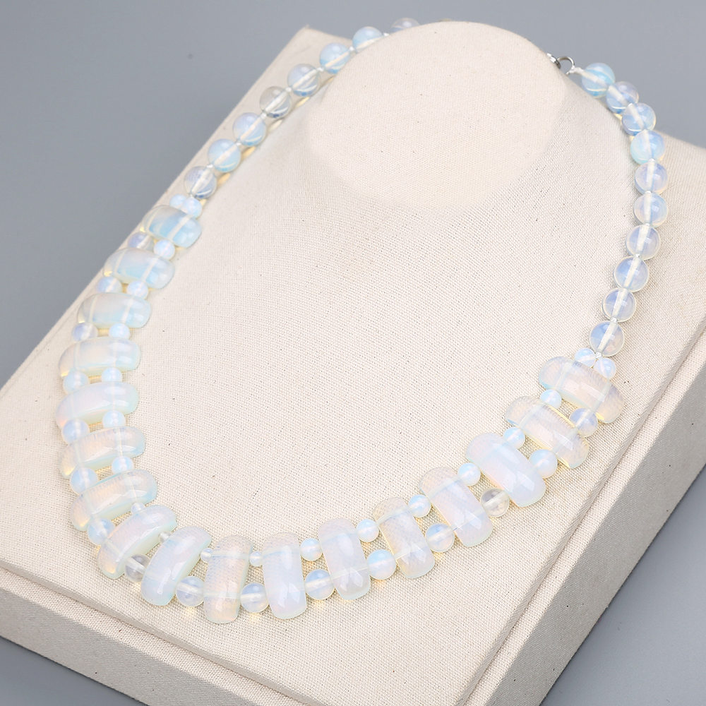 Jade Necklace Women Man Handmade Necklace Natural Stone Beads Casual Romantic White Opal Pendant Choker Crystal Necklace Power цены онлайн