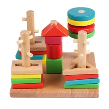 Wooden Toys Intellectual Five Pillar Shape Building Blocks Set Column ChildrenS Early Education Christmas