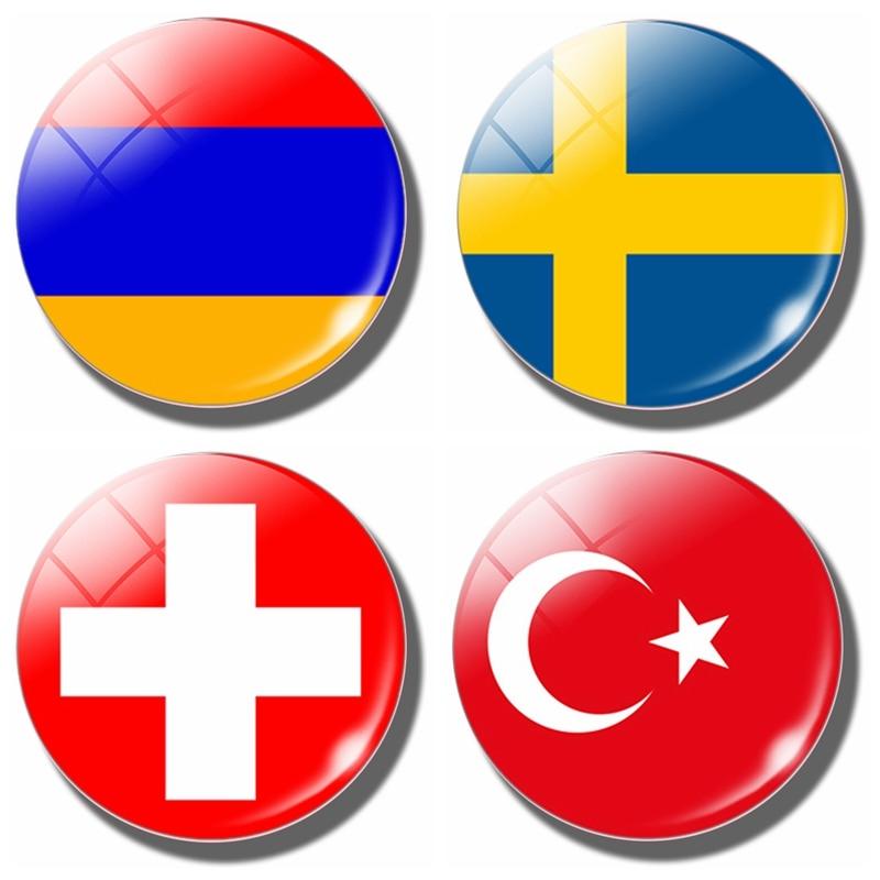 Sweden Armenia Switzerland Turkey Flag 30 MM Fridge Magnet Armenia Flag Glass Dome Refrigerator Stickers Note Holder Home Decor(China)