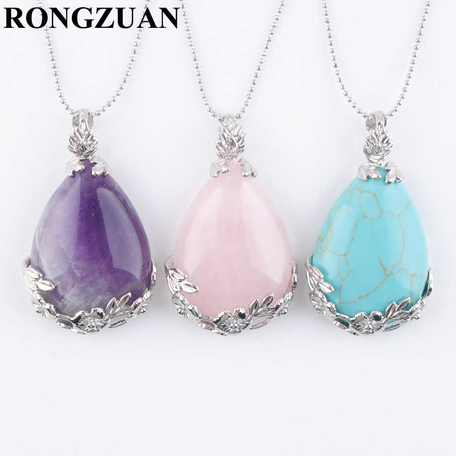 "RONGZUAN Natural Teardrop Gem Stone Tigers Eye Turquoises Beads Reiki Chakra Healing Pendant Necklace Chain 18"" Jewelry TBN350"