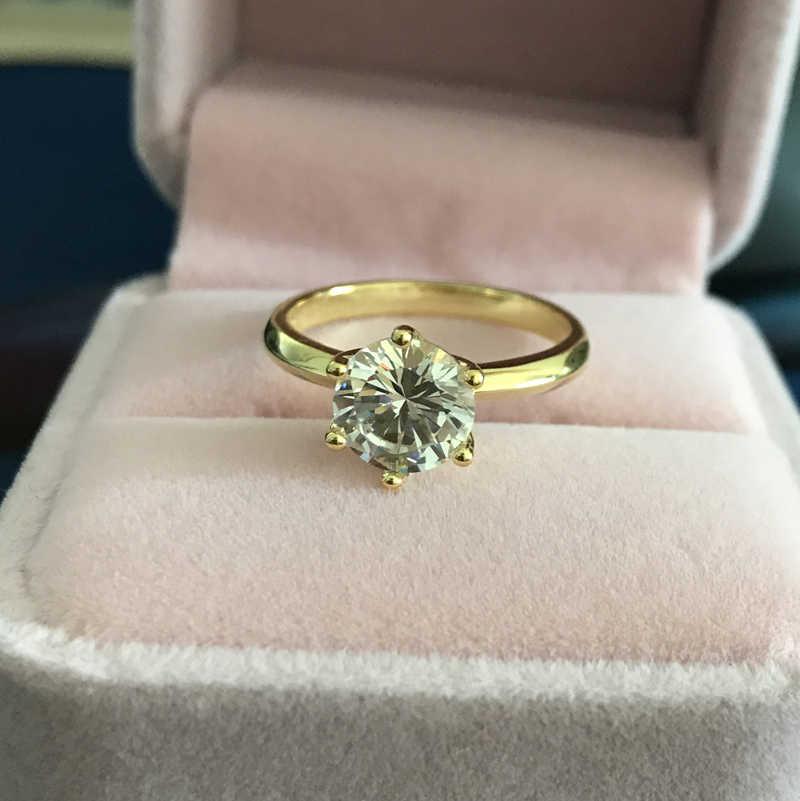 Яньхуэй, настоящее Оригинальное золото, 18 крагп, кольца, инкрустация, 2 карата, CZ, циркон, Обручальные, золотые кольца для женщин ZR169