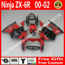 brend new Fairings for2000 2001 2002  Kawasaki ZX6R 636    parts  00 01 02  black red fairing kit AF84