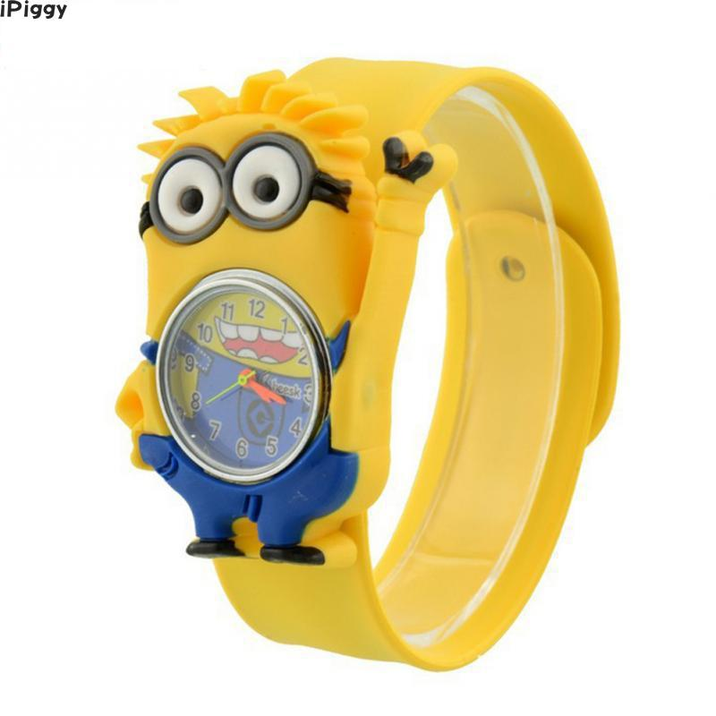 IPiggy 3D Eye Despicable Me Minion Cartoon Watch Precious Milk Dad Cute Children Clock Baby Kid Quartz Wrist Watches For Child