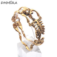 Fashion Cool Men's Punk People Skeleton Bracelet Gold Stainless Steel Gold Crystal Frame Skull Chain Bracelets Jewelry