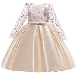 Розничная продажа, элегантное платье принцессы с цветочным кружевом и большим длинным бантом для девочек-подростков, нарядное платье для