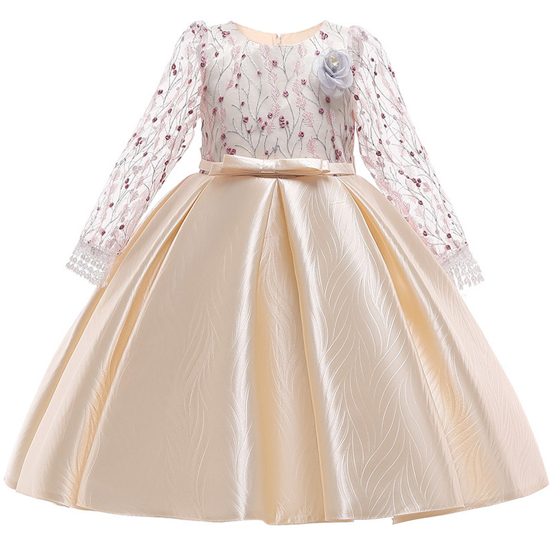 Retail Floral Lace Elegant Princess Flower Girls Dress With Big Long Bow Crystal Bow Teenage Girl Formal Party Prom Dress LP-203