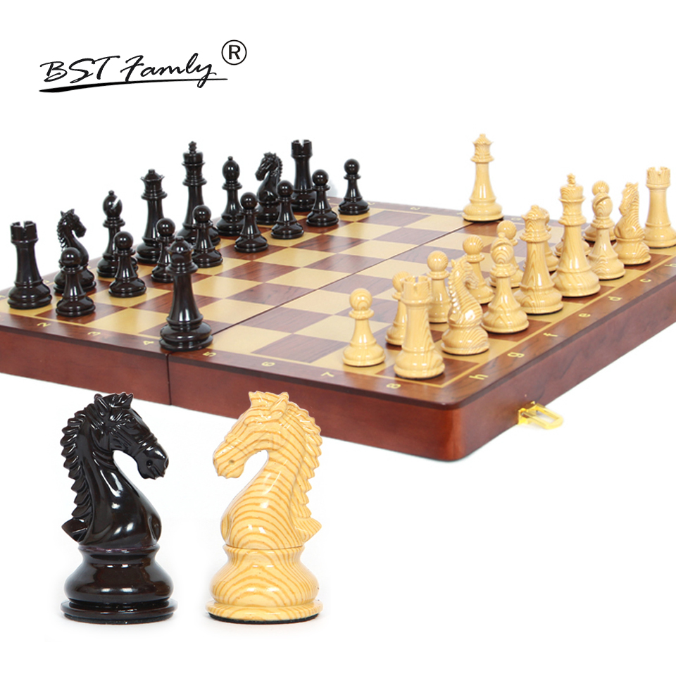 BSTFAMLY Wooden Chess Set International Chess Game High-grade Folding Wooden Chessboard ABS Chess Pieces Chessman Gift I44 bstfamly carving wooden chess set game portable game of international chess folding chessboard wood chess pieces chessman i13