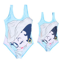Cartoon One Piece Swimsuit Women Lovely Bikini Bathing Suit For Parent-Child Conjoined Beach Swimsuit Biquinis Feminino 2019 New(China)