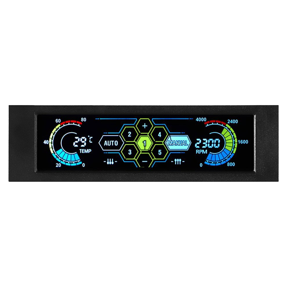 STW Fan Controller LCD Touch Screen Plastic 5.25 Inch Bay Front 5 Fan Speed Computer Cooling stw 3 5 inch 4 channel drive bay fan speed temperature controller