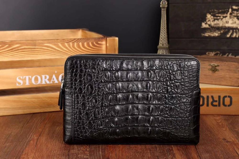 Double zipper closure alligator back skin leather men clutch 100% genuine alligator skin leather big size men wallet purse case